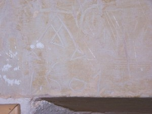 Graffiti of 1601 in the porch of St Mary's Church, Letchworth