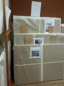 Paintings wrapped and labelled ready for the move